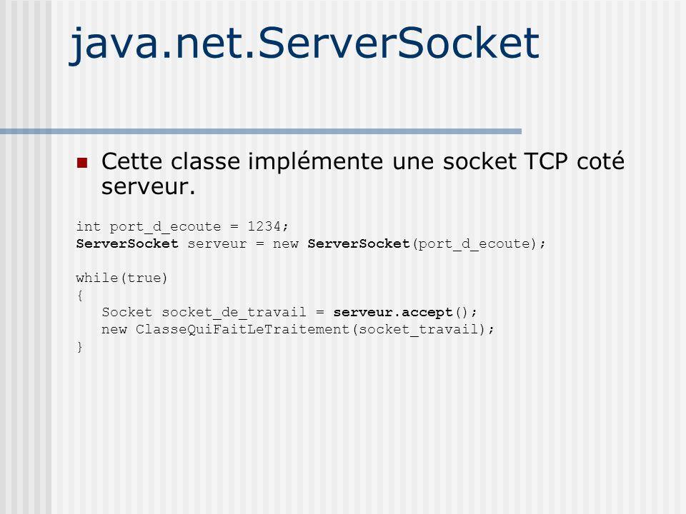 java.net.ServerSocket Cette classe implémente une socket TCP coté serveur.