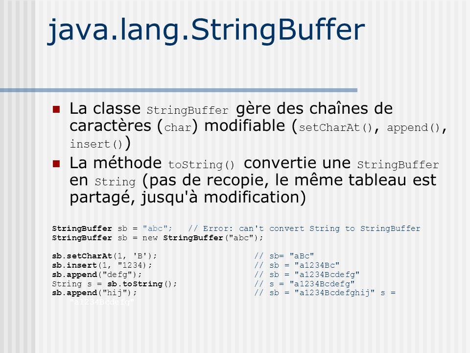java.lang.StringBuffer La classe StringBuffer gère des chaînes de caractères ( char ) modifiable ( setCharAt(), append(), insert() ) La méthode toString() convertie une StringBuffer en String (pas de recopie, le même tableau est partagé, jusqu à modification) StringBuffer sb = abc ; // Error: can t convert String to StringBuffer StringBuffer sb = new StringBuffer( abc ); sb.setCharAt(1, B ); // sb= aBc sb.insert(1, 1234); // sb = a1234Bc sb.append( defg ); // sb = a1234Bcdefg String s = sb.toString(); // s = a1234Bcdefg sb.append( hij ); // sb = a1234Bcdefghij s = a1234Bcdefg