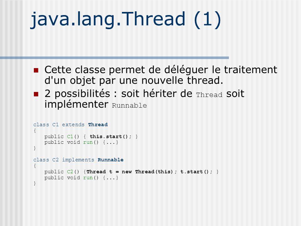 java.lang.Thread (1) Cette classe permet de déléguer le traitement d un objet par une nouvelle thread.