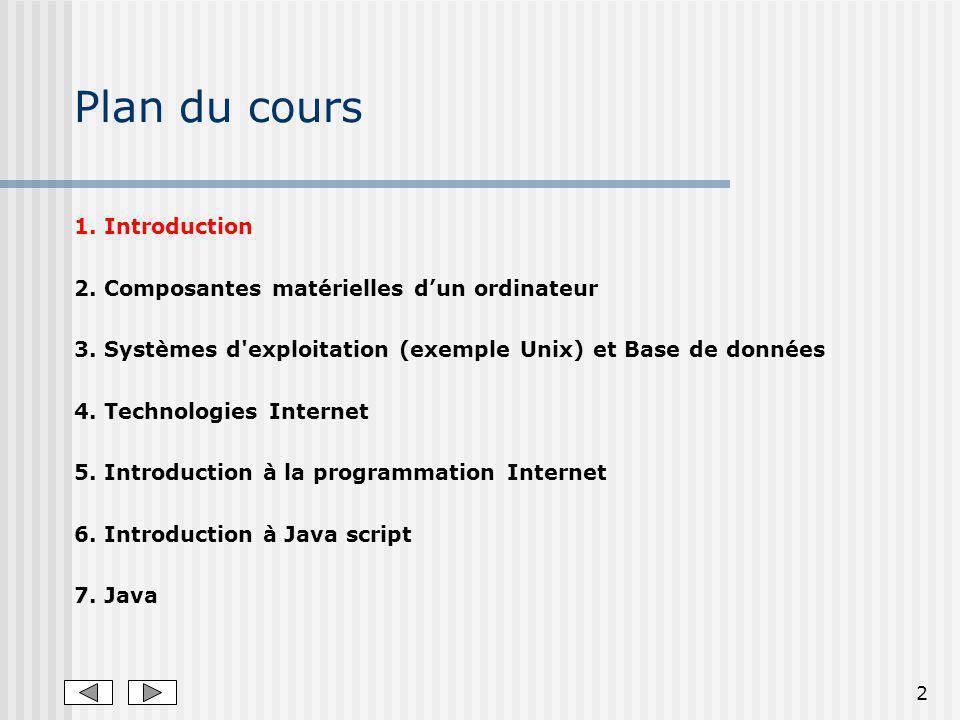 2 Plan du cours 1. Introduction 2. Composantes matérielles dun ordinateur 3.