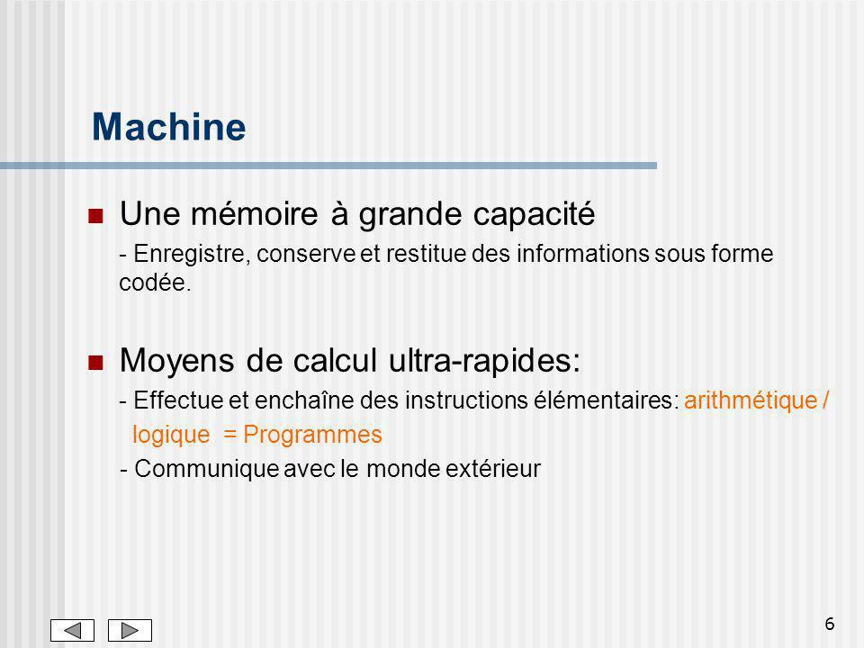 6 Machine Une mémoire à grande capacité - Enregistre, conserve et restitue des informations sous forme codée.