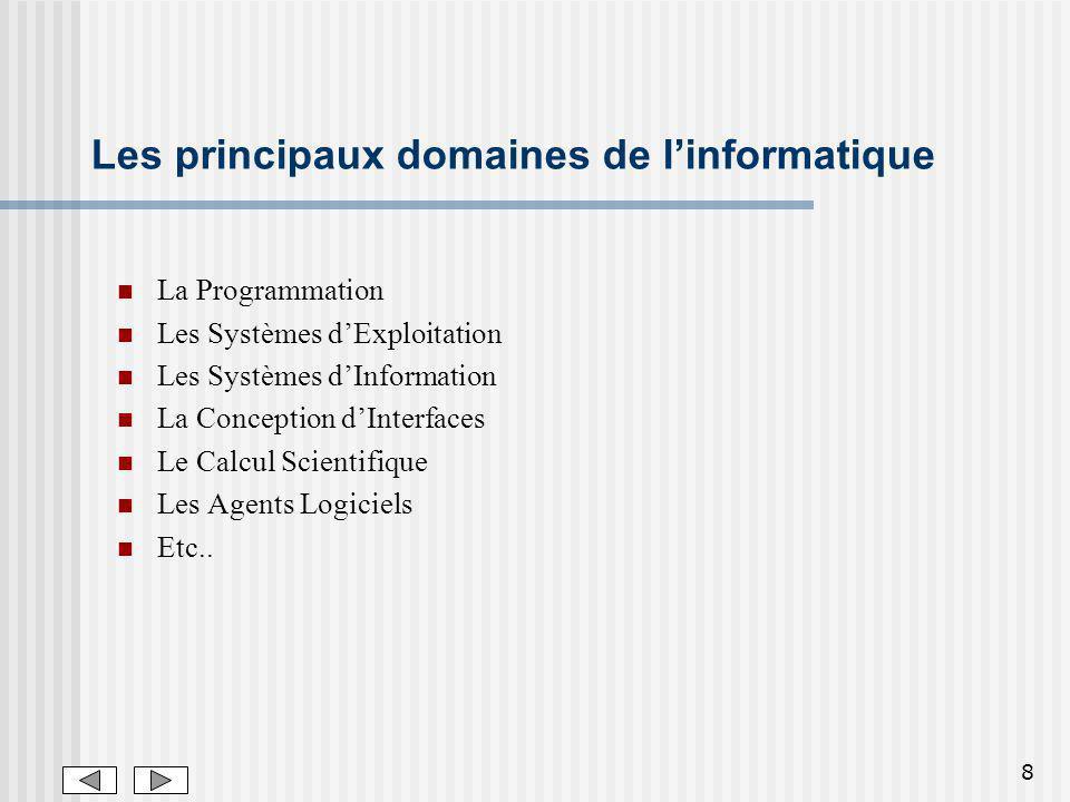 8 Les principaux domaines de linformatique La Programmation Les Systèmes dExploitation Les Systèmes dInformation La Conception dInterfaces Le Calcul Scientifique Les Agents Logiciels Etc..