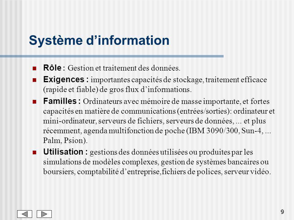 9 Système dinformation Rôle : Gestion et traitement des données.