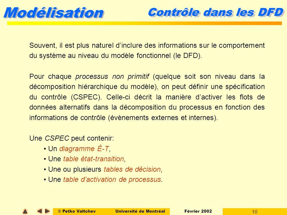 © Petko ValtchevUniversité de Montréal Février 2002 10 Modélisation Contrôle dans les DFD Souvent, il est plus naturel dinclure des informations sur l