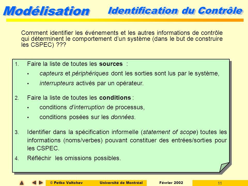 © Petko ValtchevUniversité de Montréal Février 2002 11 Modélisation Identification du Contrôle Comment identifier les événements et les autres informa