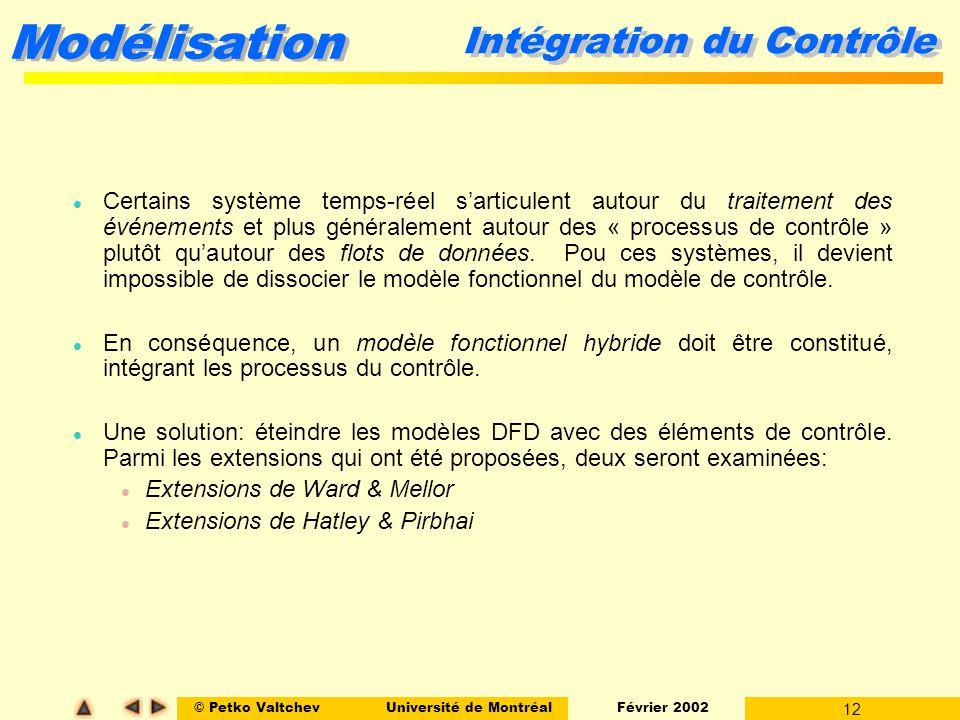 © Petko ValtchevUniversité de Montréal Février 2002 12 Modélisation Intégration du Contrôle l Certains système temps-réel sarticulent autour du traite