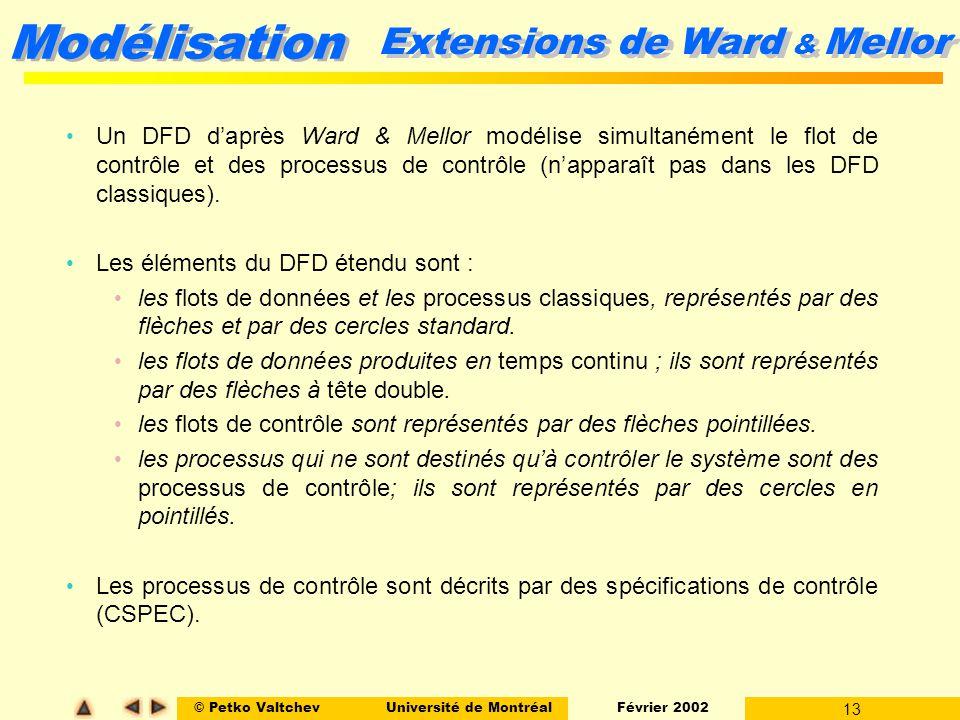 © Petko ValtchevUniversité de Montréal Février 2002 13 Modélisation Extensions de Ward & Mellor Un DFD daprès Ward & Mellor modélise simultanément le