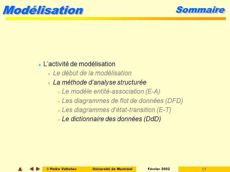 © Petko ValtchevUniversité de Montréal Février 2002 17 Modélisation Sommaire l Lactivité de modélisation l Le début de la modélisation l La méthode da