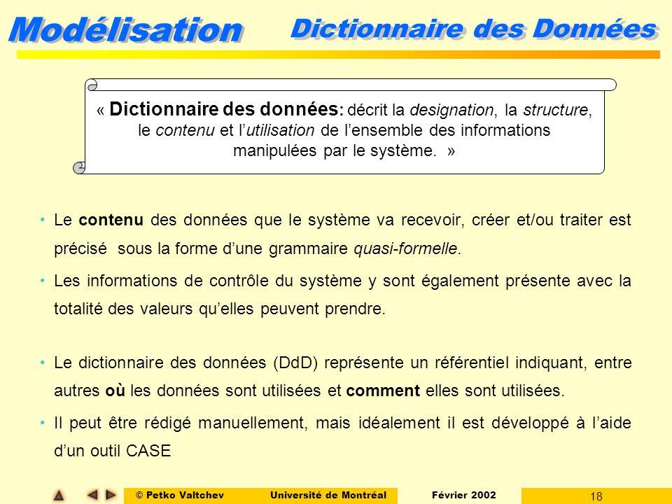 © Petko ValtchevUniversité de Montréal Février 2002 18 Modélisation Dictionnaire des Données Le contenu des données que le système va recevoir, créer