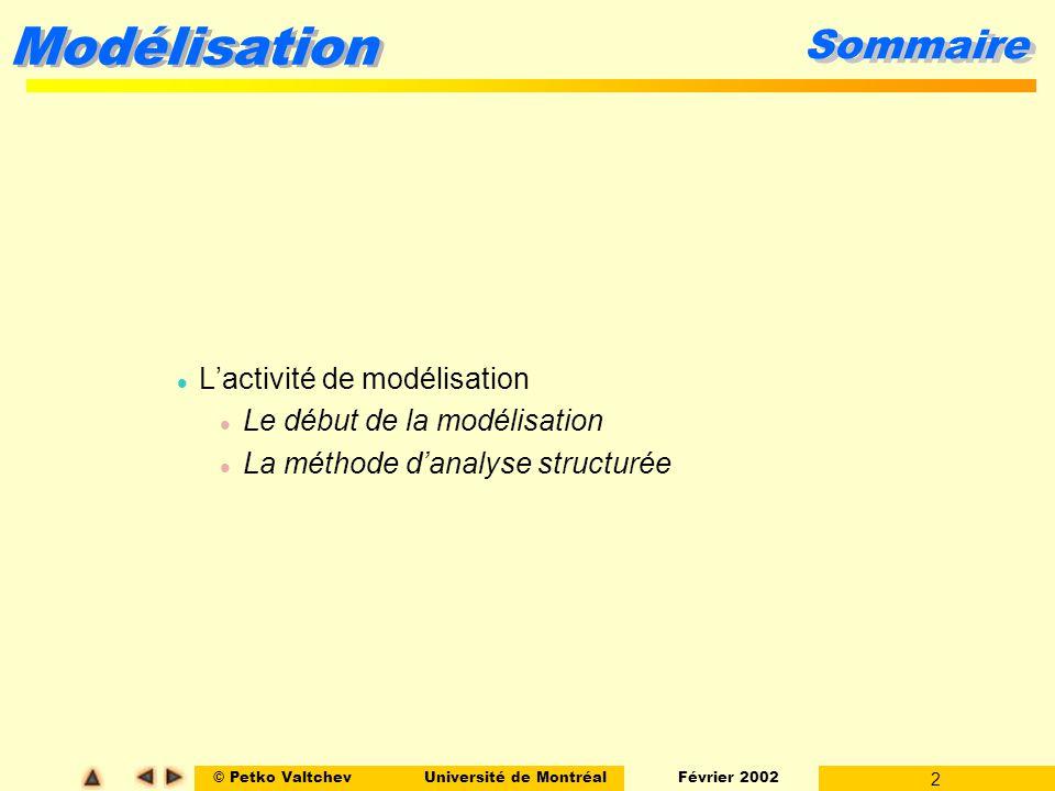 © Petko ValtchevUniversité de Montréal Février 2002 13 Modélisation Extensions de Ward & Mellor Un DFD daprès Ward & Mellor modélise simultanément le flot de contrôle et des processus de contrôle (napparaît pas dans les DFD classiques).