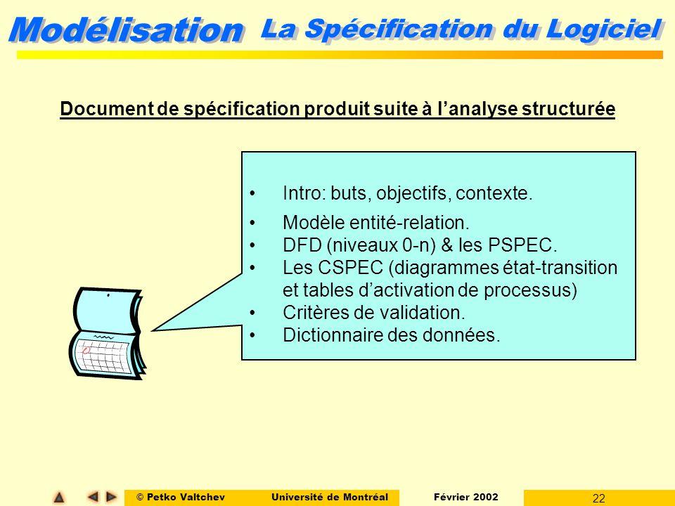 © Petko ValtchevUniversité de Montréal Février 2002 22 Modélisation Document de spécification produit suite à lanalyse structurée La Spécification du