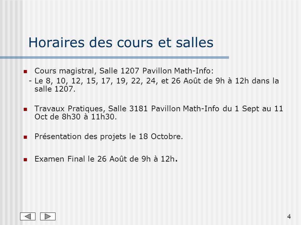 4 Horaires des cours et salles Cours magistral, Salle 1207 Pavillon Math-Info: - Le 8, 10, 12, 15, 17, 19, 22, 24, et 26 Août de 9h à 12h dans la salle 1207.