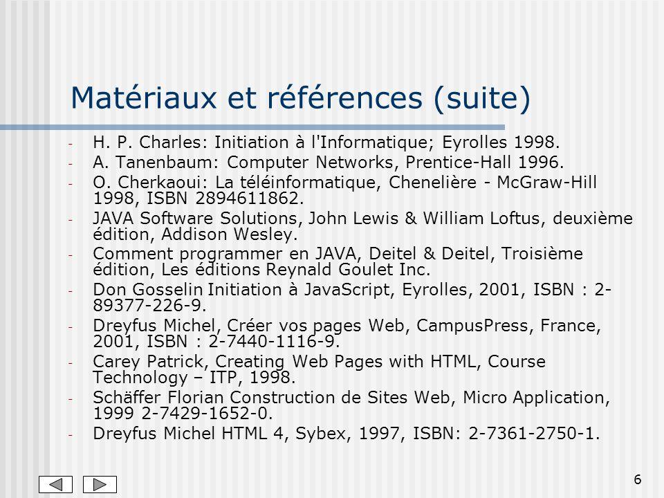 6 Matériaux et références (suite) - H.P. Charles: Initiation à l Informatique; Eyrolles 1998.