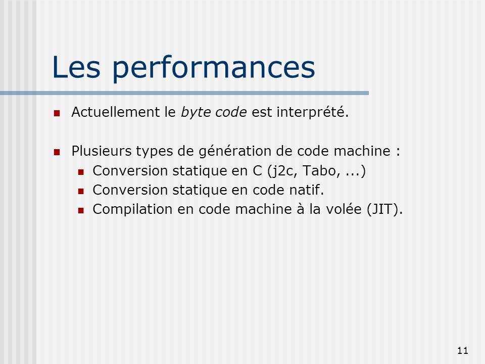 11 Les performances Actuellement le byte code est interprété. Plusieurs types de génération de code machine : Conversion statique en C (j2c, Tabo,...)