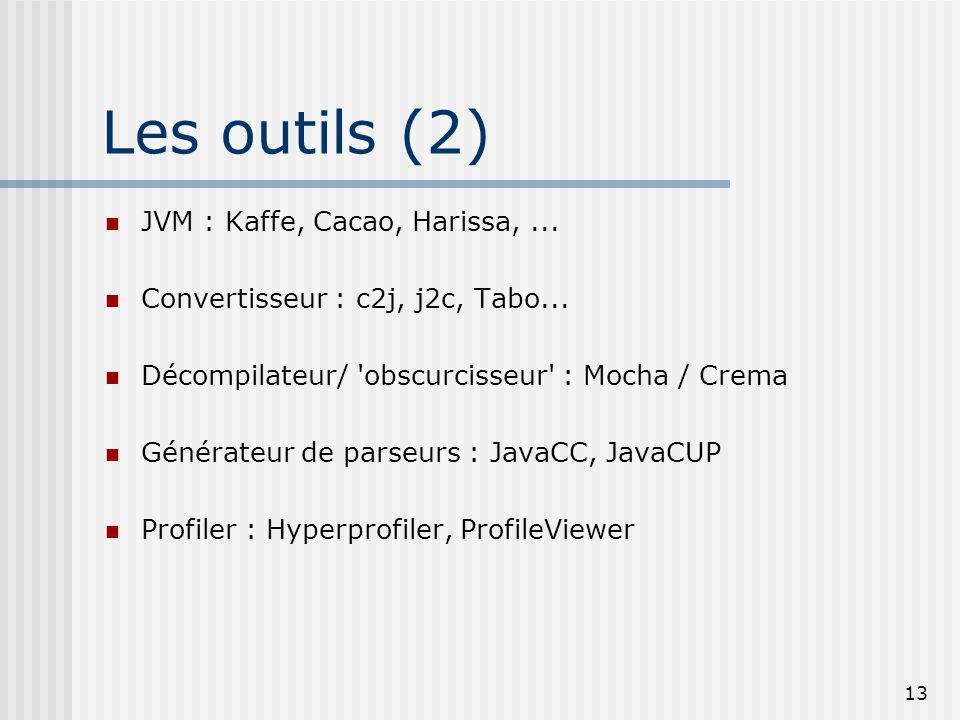 13 Les outils (2) JVM : Kaffe, Cacao, Harissa,... Convertisseur : c2j, j2c, Tabo... Décompilateur/ 'obscurcisseur' : Mocha / Crema Générateur de parse