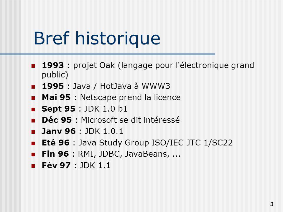 3 Bref historique 1993 : projet Oak (langage pour l électronique grand public) 1995 : Java / HotJava à WWW3 Mai 95 : Netscape prend la licence Sept 95 : JDK 1.0 b1 Déc 95 : Microsoft se dit intéressé Janv 96 : JDK 1.0.1 Eté 96 : Java Study Group ISO/IEC JTC 1/SC22 Fin 96 : RMI, JDBC, JavaBeans,...