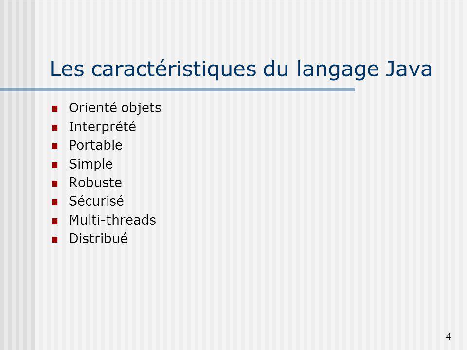 4 Les caractéristiques du langage Java Orienté objets Interprété Portable Simple Robuste Sécurisé Multi-threads Distribué