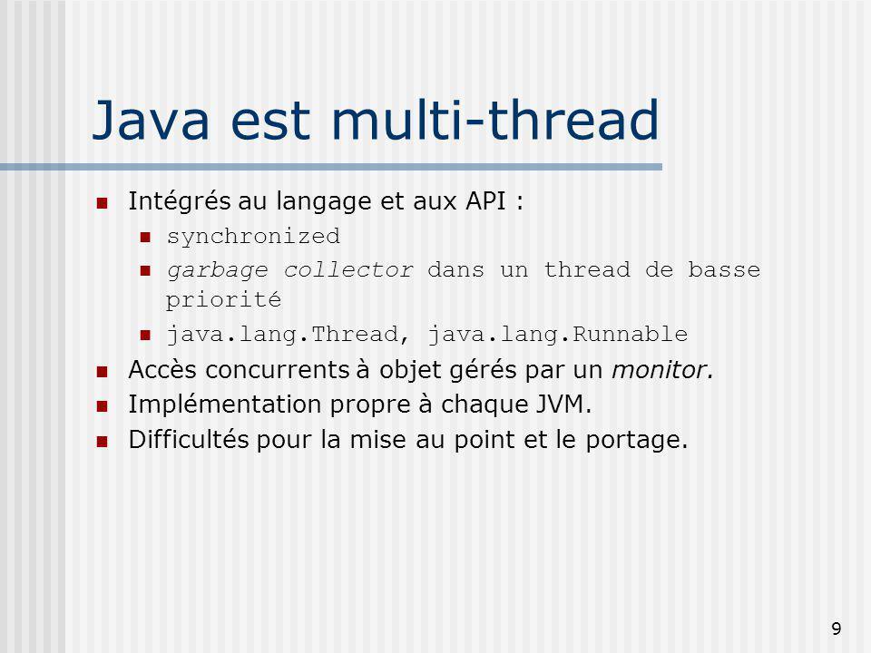 9 Java est multi-thread Intégrés au langage et aux API : synchronized garbage collector dans un thread de basse priorité java.lang.Thread, java.lang.Runnable Accès concurrents à objet gérés par un monitor.