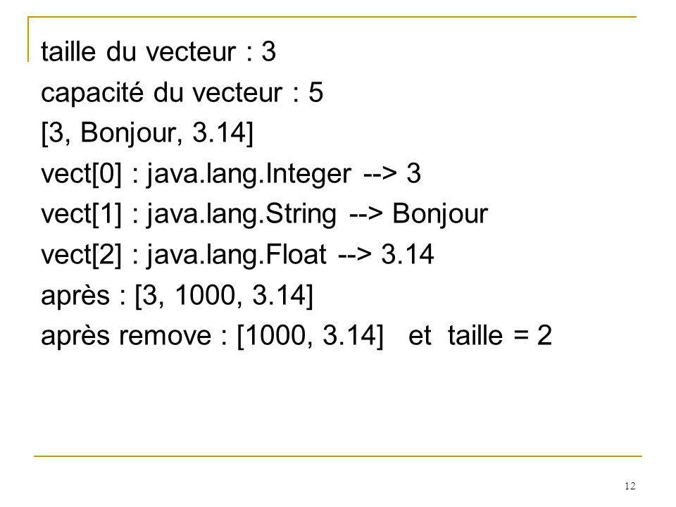 12 taille du vecteur : 3 capacité du vecteur : 5 [3, Bonjour, 3.14] vect[0] : java.lang.Integer --> 3 vect[1] : java.lang.String --> Bonjour vect[2] :