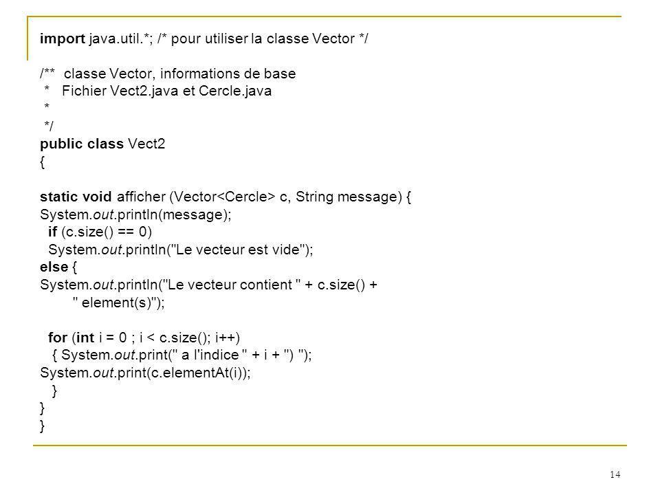 14 import java.util.*; /* pour utiliser la classe Vector */ /** classe Vector, informations de base * Fichier Vect2.java et Cercle.java * */ public cl