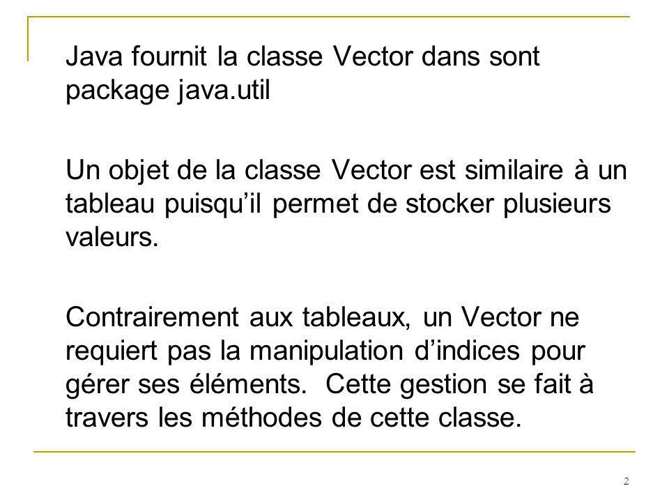 2 Java fournit la classe Vector dans sont package java.util Un objet de la classe Vector est similaire à un tableau puisquil permet de stocker plusieu