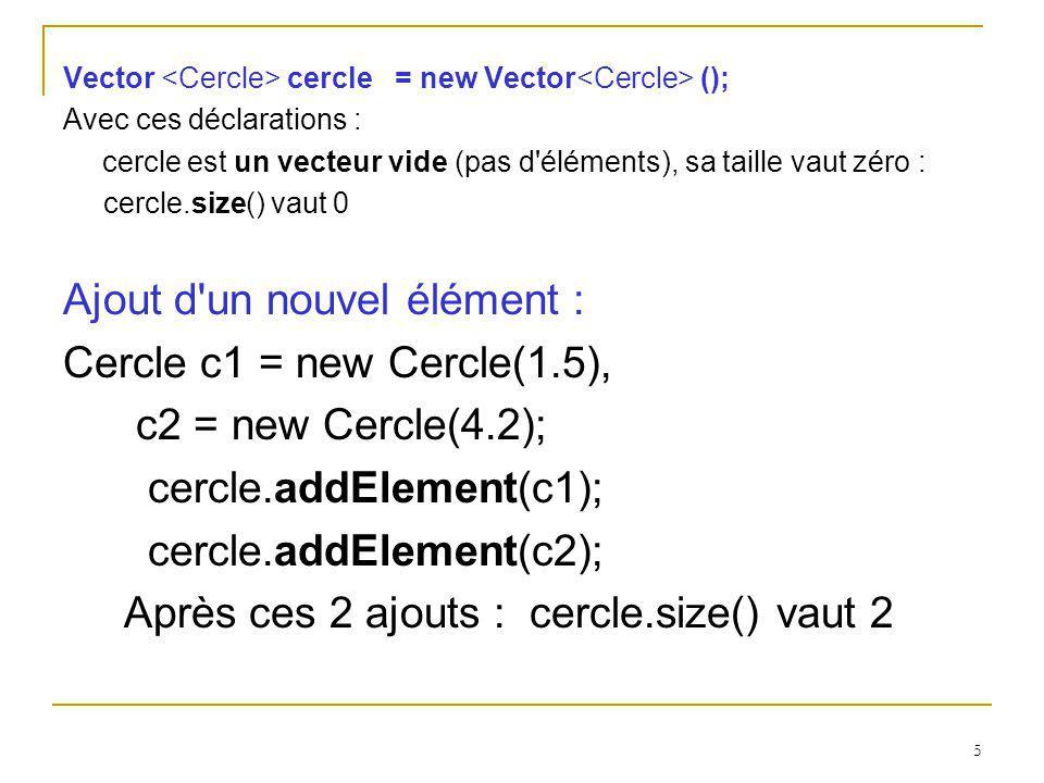 5 Vector cercle = new Vector (); Avec ces déclarations : cercle est un vecteur vide (pas d'éléments), sa taille vaut zéro : cercle.size() vaut 0 Ajout