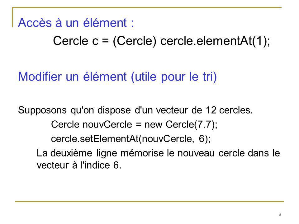 6 Accès à un élément : Cercle c = (Cercle) cercle.elementAt(1); Modifier un élément (utile pour le tri) Supposons qu'on dispose d'un vecteur de 12 cer