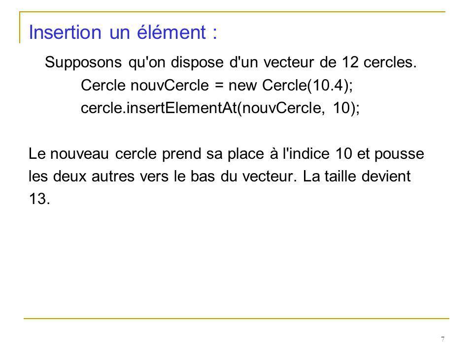 7 Insertion un élément : Supposons qu'on dispose d'un vecteur de 12 cercles. Cercle nouvCercle = new Cercle(10.4); cercle.insertElementAt(nouvCercle,