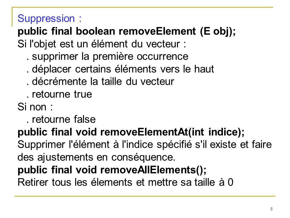 8 Suppression : public final boolean removeElement (E obj); Si l'objet est un élément du vecteur :. supprimer la première occurrence. déplacer certain