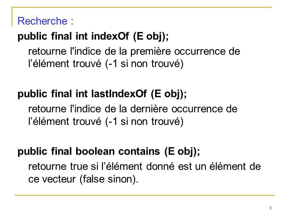 9 Recherche : public final int indexOf (E obj); retourne l'indice de la première occurrence de lélément trouvé (-1 si non trouvé) public final int las