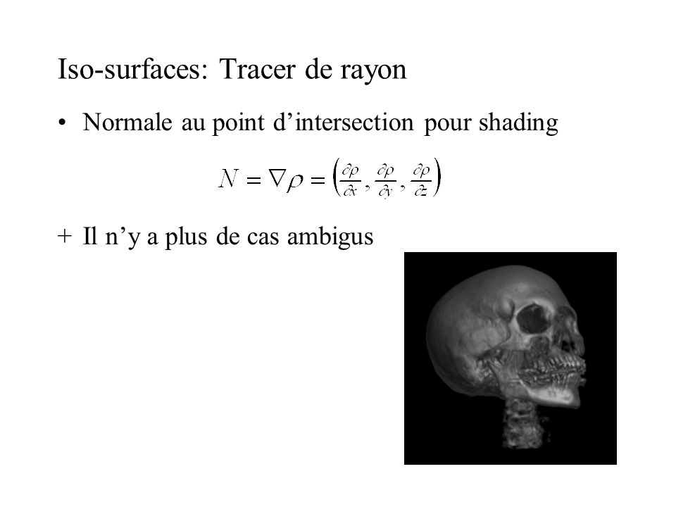 Iso-surfaces: Tracer de rayon Normale au point dintersection pour shading +Il ny a plus de cas ambigus