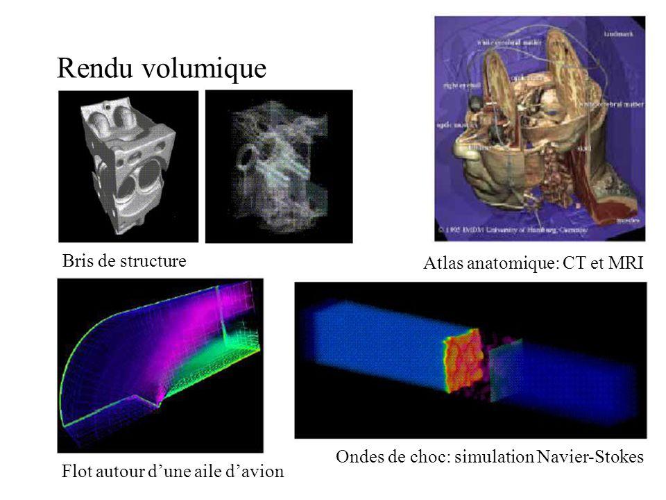 Rendu volumique Flot autour dune aile davion Ondes de choc: simulation Navier-Stokes Bris de structure Atlas anatomique: CT et MRI