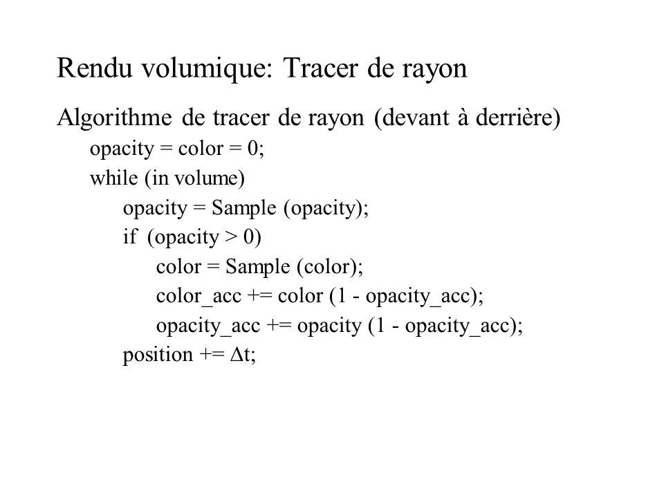 Rendu volumique: Tracer de rayon Algorithme de tracer de rayon (devant à derrière) opacity = color = 0; while (in volume) opacity = Sample (opacity);