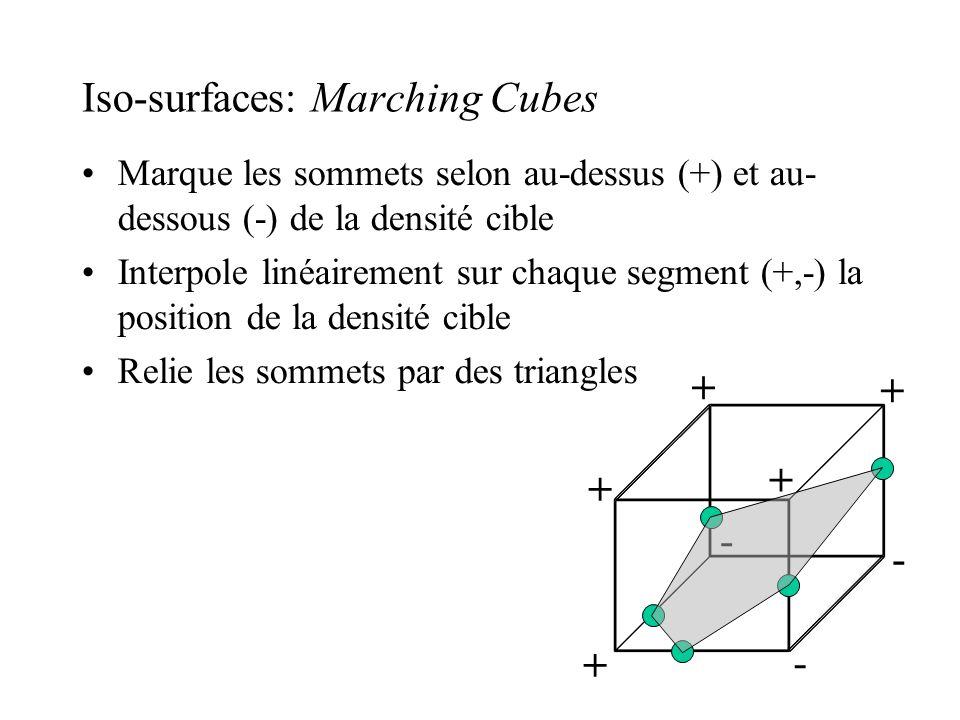 Iso-surfaces: Marching Cubes Marque les sommets selon au-dessus (+) et au- dessous (-) de la densité cible Interpole linéairement sur chaque segment (