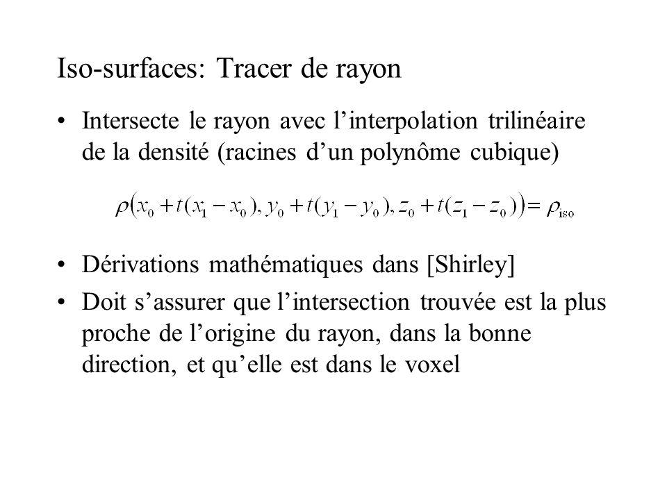 Iso-surfaces: Tracer de rayon Intersecte le rayon avec linterpolation trilinéaire de la densité (racines dun polynôme cubique) Dérivations mathématiqu