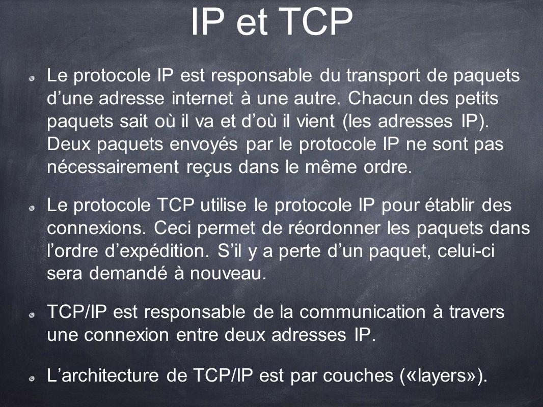 IP et TCP Le protocole IP est responsable du transport de paquets dune adresse internet à une autre. Chacun des petits paquets sait où il va et doù il