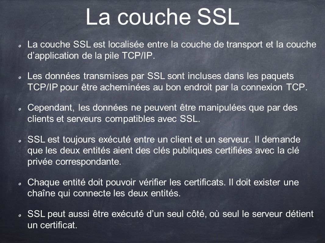 La couche SSL La couche SSL est localisée entre la couche de transport et la couche dapplication de la pile TCP/IP. Les données transmises par SSL son