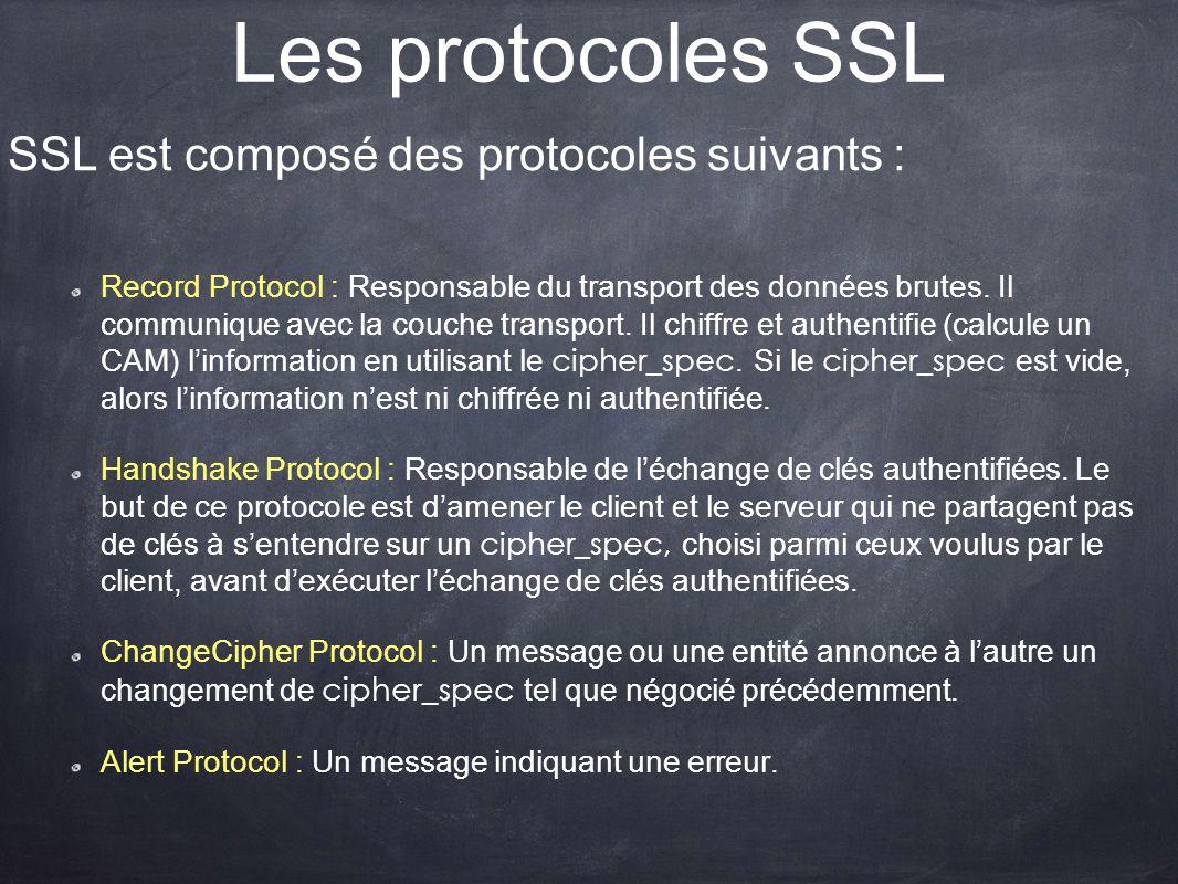 Les protocoles SSL Record Protocol : Responsable du transport des données brutes. Il communique avec la couche transport. Il chiffre et authentifie (c