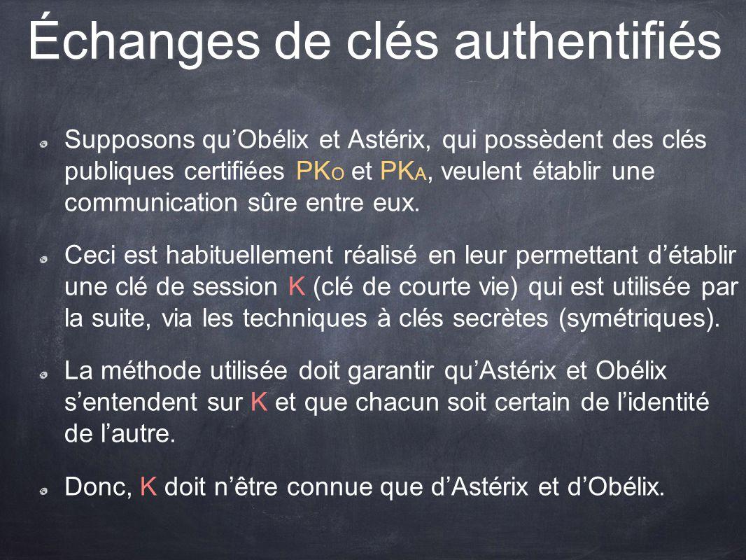 Échanges de clés authentifiés Supposons quObélix et Astérix, qui possèdent des clés publiques certifiées PK O et PK A, veulent établir une communicati