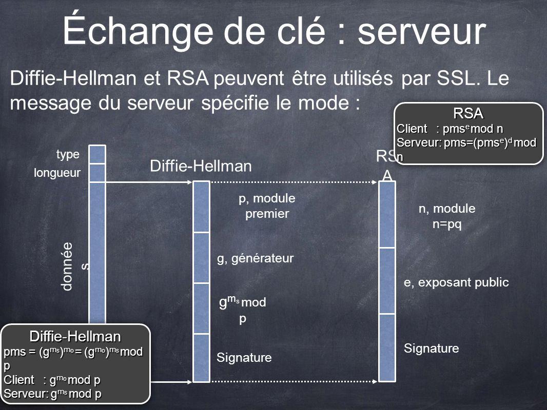 Échange de clé : serveur Diffie-Hellman et RSA peuvent être utilisés par SSL. Le message du serveur spécifie le mode : p, module premier g, générateur