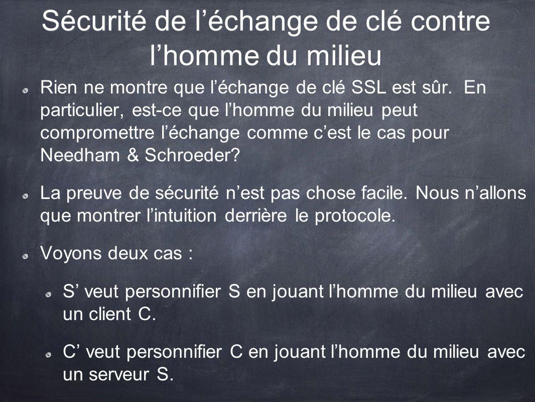 Sécurité de léchange de clé contre lhomme du milieu Rien ne montre que léchange de clé SSL est sûr. En particulier, est-ce que lhomme du milieu peut c