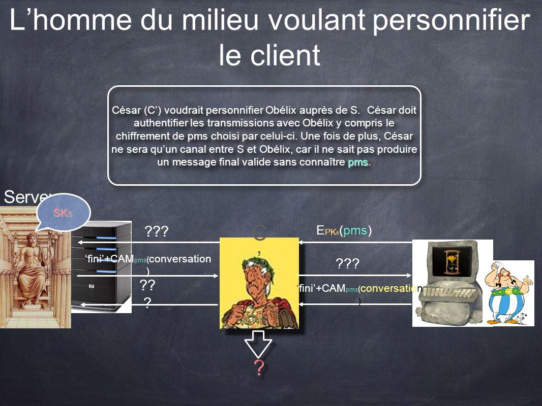 Lhomme du milieu voulant personnifier le client Serveur SK S César (C) voudrait personnifier Obélix auprès de S. César doit authentifier les transmiss