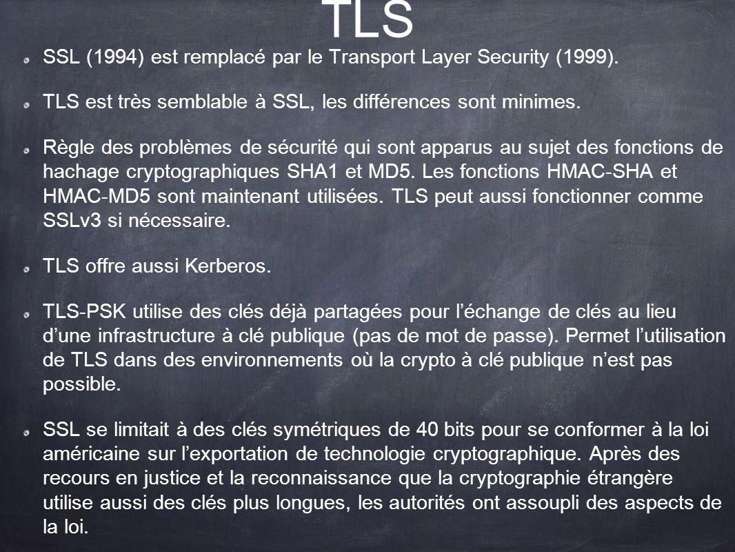 TLS SSL (1994) est remplacé par le Transport Layer Security (1999). TLS est très semblable à SSL, les différences sont minimes. Règle des problèmes de