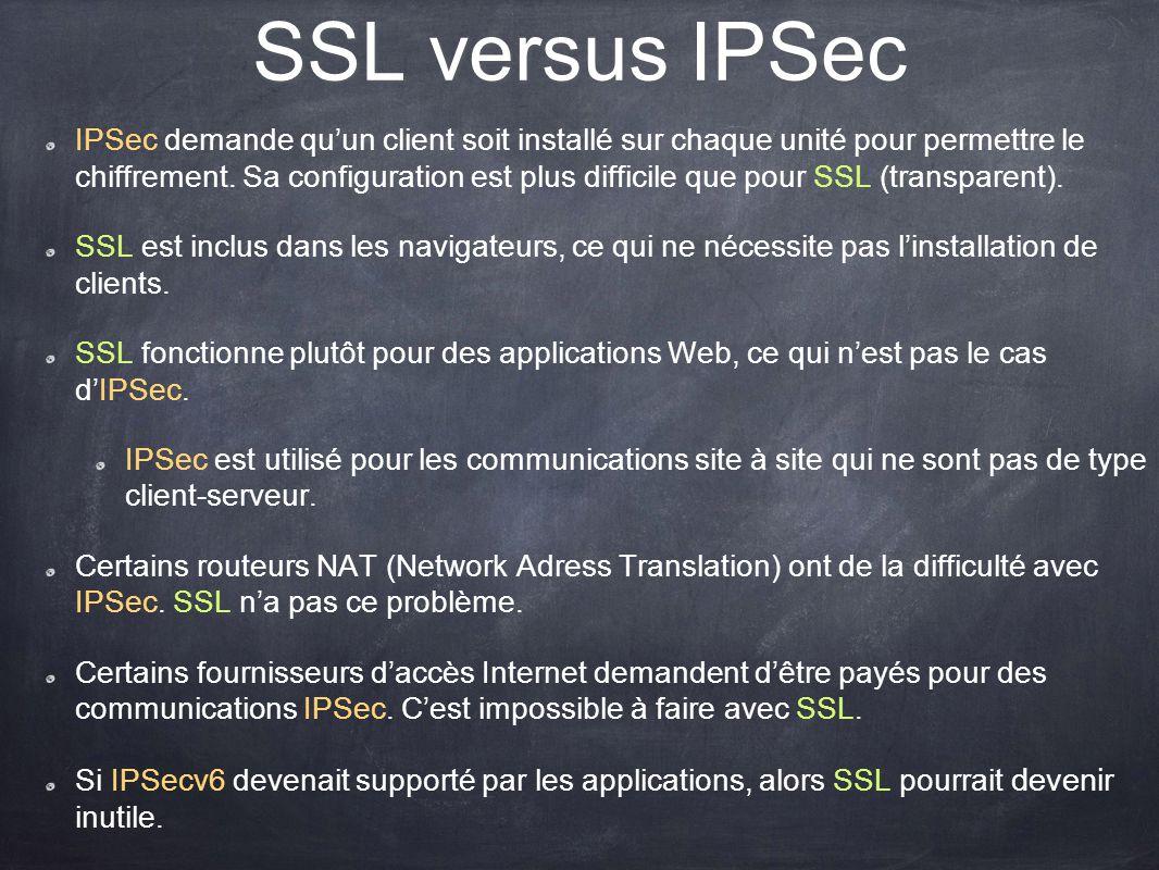 SSL versus IPSec IPSec demande quun client soit installé sur chaque unité pour permettre le chiffrement. Sa configuration est plus difficile que pour