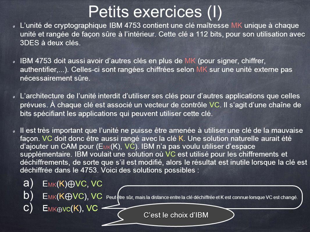Petits exercices (I) Lunité de cryptographique IBM 4753 contient une clé maîtresse MK unique à chaque unité et rangée de façon sûre à lintérieur. Cett