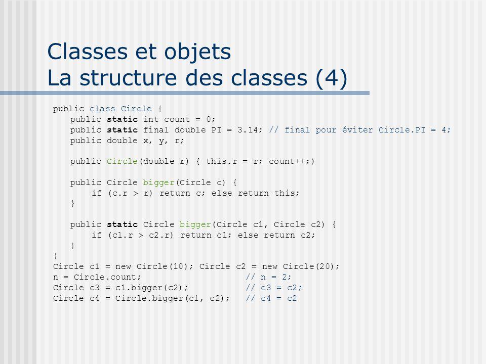 Classes et objets La structure des classes (4) public class Circle { public static int count = 0; public static final double PI = 3.14; // final pour éviter Circle.PI = 4; public double x, y, r; public Circle(double r) { this.r = r; count++;) public Circle bigger(Circle c) { if (c.r > r) return c; else return this; } public static Circle bigger(Circle c1, Circle c2) { if (c1.r > c2.r) return c1; else return c2; } Circle c1 = new Circle(10); Circle c2 = new Circle(20); n = Circle.count; // n = 2; Circle c3 = c1.bigger(c2); // c3 = c2; Circle c4 = Circle.bigger(c1, c2); // c4 = c2