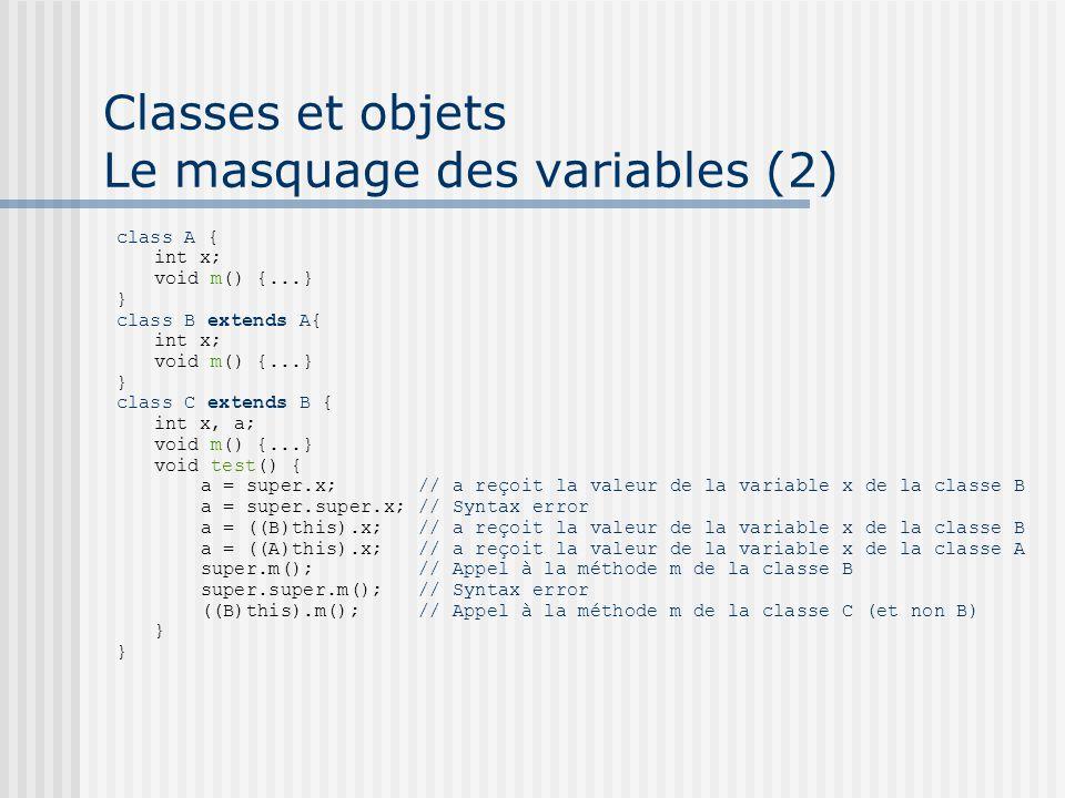 Classes et objets Le masquage des variables (2) class A { int x; void m() {...} } class B extends A{ int x; void m() {...} } class C extends B { int x, a; void m() {...} void test() { a = super.x; // a reçoit la valeur de la variable x de la classe B a = super.super.x; // Syntax error a = ((B)this).x; // a reçoit la valeur de la variable x de la classe B a = ((A)this).x; // a reçoit la valeur de la variable x de la classe A super.m(); // Appel à la méthode m de la classe B super.super.m(); // Syntax error ((B)this).m(); // Appel à la méthode m de la classe C (et non B) }