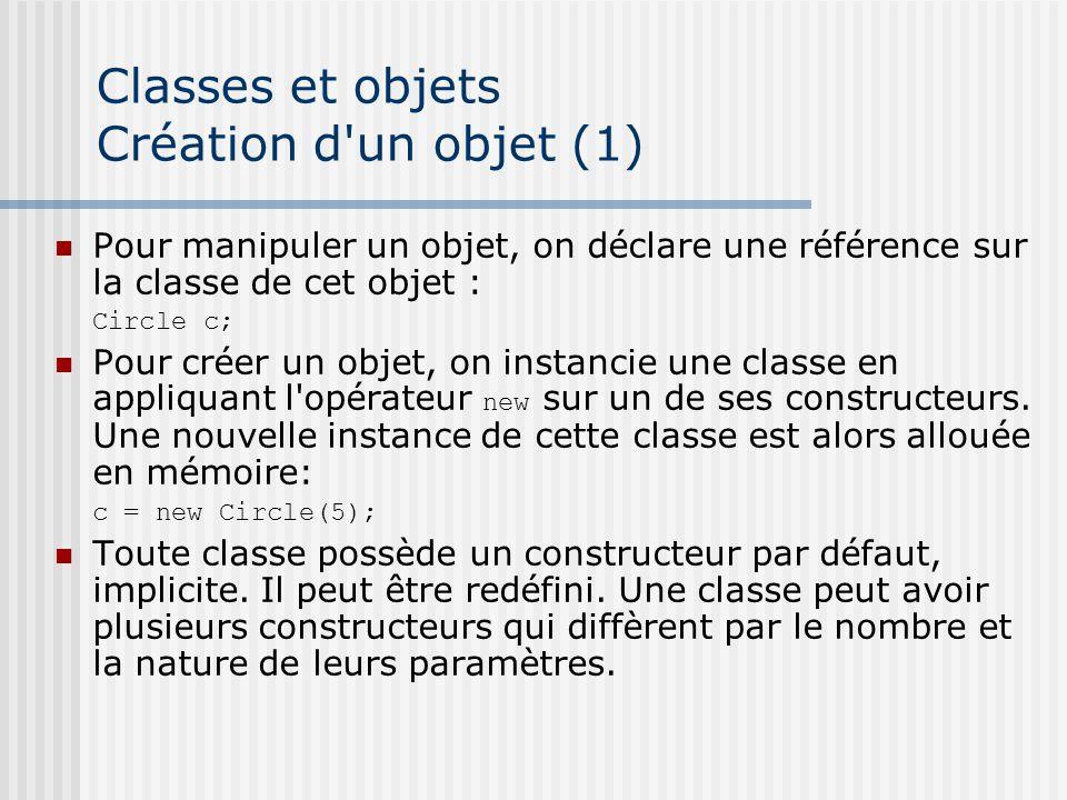Classes et objets Création d un objet (1) Pour manipuler un objet, on déclare une référence sur la classe de cet objet : Circle c; Pour créer un objet, on instancie une classe en appliquant l opérateur new sur un de ses constructeurs.