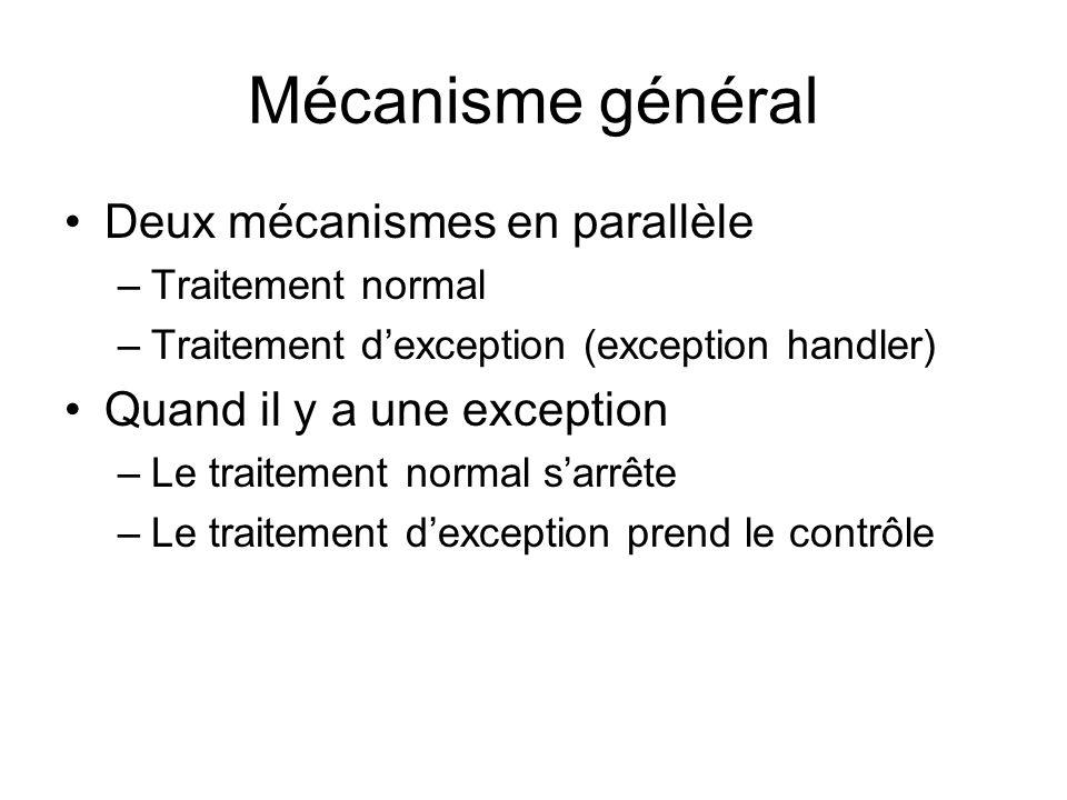 Mécanisme général Deux mécanismes en parallèle –Traitement normal –Traitement dexception (exception handler) Quand il y a une exception –Le traitement normal sarrête –Le traitement dexception prend le contrôle