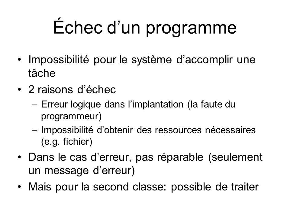 Échec dun programme Impossibilité pour le système daccomplir une tâche 2 raisons déchec –Erreur logique dans limplantation (la faute du programmeur) –Impossibilité dobtenir des ressources nécessaires (e.g.